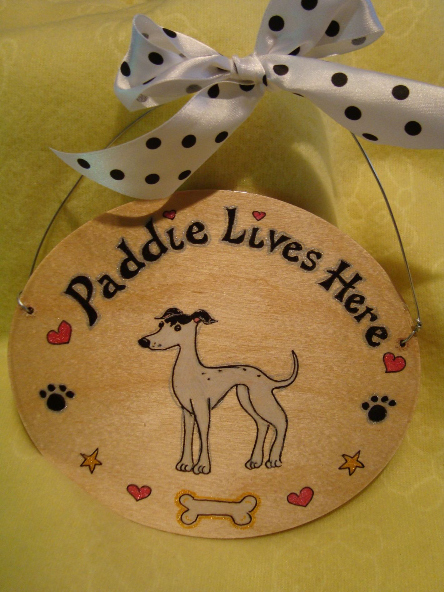 Personalised Puppy Dog Kennel Bed Run Wooden Oval Sign